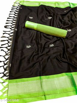 MH Traditional Paithani Silk Sarees With Contrast Blouse Piece (Silver Black & Neon)