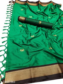 MH Traditional Paithani Silk Sarees With Contrast Blouse Piece (Green & Black)