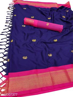 MH Traditional Paithani Silk Sarees With Contrast Blouse Piece (Navy & Pink)