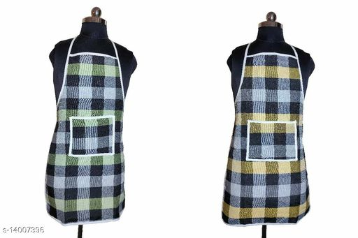 Set of 2 Check Design Cotton Waterproof Kitchen Apron with Front Pocket (Color As Per Availability also) _ rjkita-mx5
