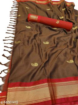 MH Traditional Paithani Silk Sarees With Contrast Blouse Piece (Coffee & Red)