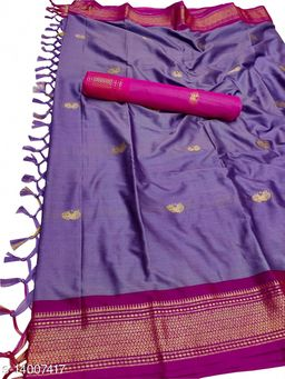 MH Traditional Paithani Silk Sarees With Contrast Blouse Piece (Lavender & Rani)