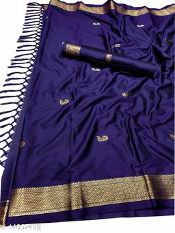 MH Traditional Paithani Silk Sarees With Contrast Blouse Piece (Navy & Gold)