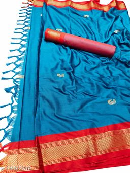 MH Traditional Paithani Silk Sarees With Contrast Blouse Piece (Sky Blue & Red)