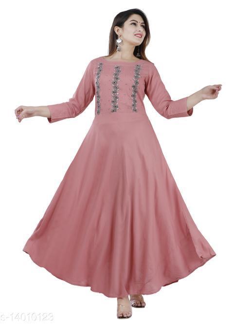 Women Partywear Pink Color Maxi/Full Length Dress