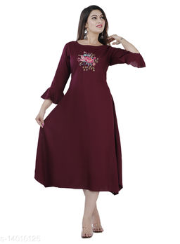 Women Partywear Wine Color Maxi/Full Length Dress