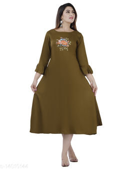 Women Partywear Olive Color Maxi/Full Length Dress