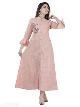 Women Partywear Peach Color Maxi/Full Length Dress