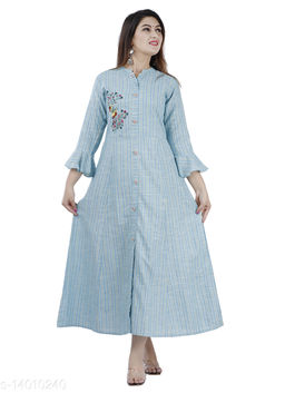 Women Partywear skyBlue Color Maxi/Full Length Dress