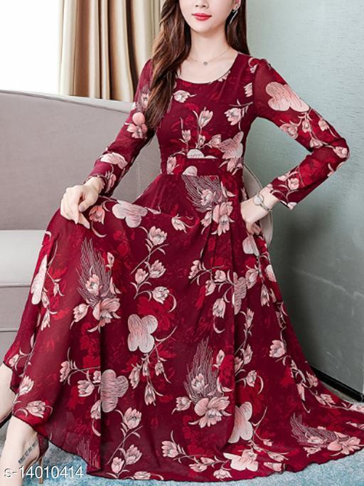 Womens Maroon Flower Print With Full Sleeve Dress 0107