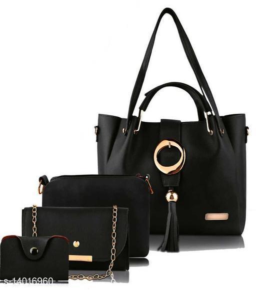 Trendy Women's Black PU Handbag set