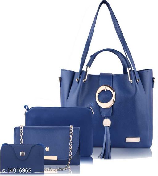 Trendy Women's Blue PU Handbag
