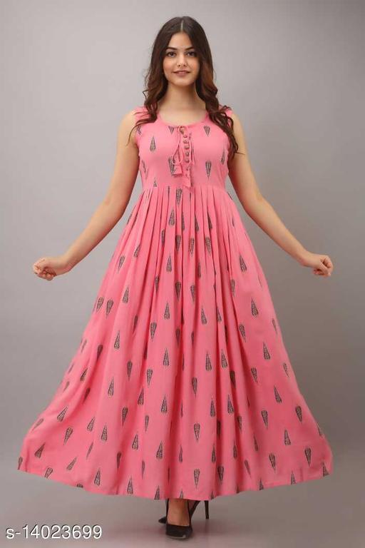 Beautiful Printed Kurti In Long Gown Style