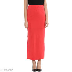 Red a line Long Skirt  made of Cotton