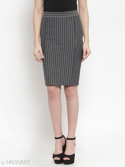grey colour  knee length Skirt  made of cotton blended fabric.