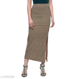 Checkered Long Skirt in Beach Color made of Cotton Lycra