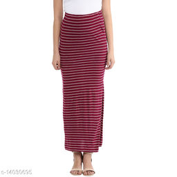 Long  Striped  Skirt in Red Color made of Cotton