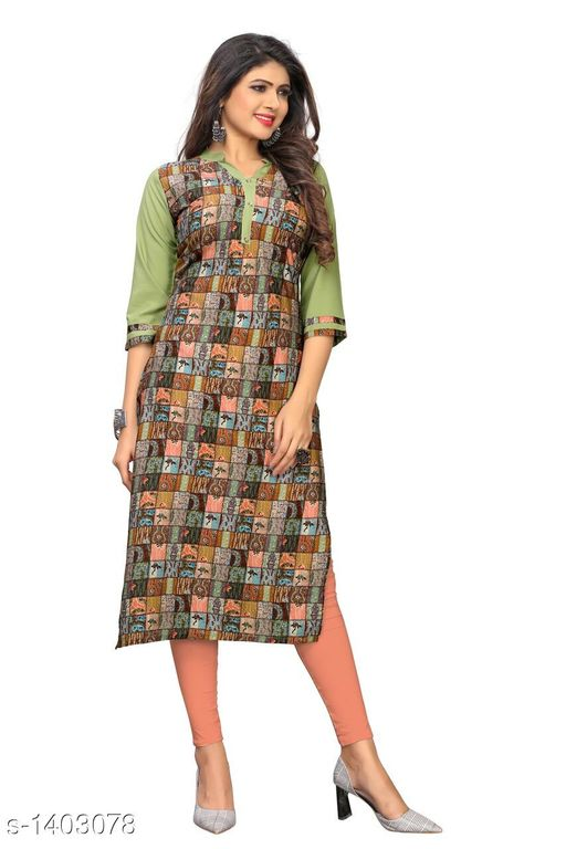Kurtis & Kurtas Marine Style American Crepe Kurti  *Fabric* American Crepe  *Sleeves* 3/4 Sleeves Are Included  *Size* M - 38 in, - 40 in, X- 42 in, XXL - 44 in, XXXL - 46 in  *Length* Up To 48 in  *Type* Stitched  *Description* It Has 1 Piece Of Women's Kurti  *Work * Printed  *Sizes Available* M, L, XL, XXL, XXXL   Catalog Rating: ★3.6 (29) Supplier Rating: ★4 (2846) SKU: CREAP 401 Shipping charges: Rs1 (Non-refundable) Pkt. Weight Range: 300  Catalog Name: Jignya Marine Style American Crepe Kurtis Vol 1 - SANDEEP ETHNIC CENTER Code: 363-1403078--854