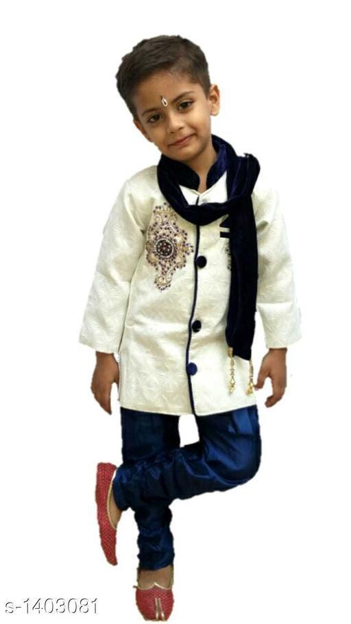 Sherwanis Kids Classic Sherwani  *Fabric* Cotton Blend  *Sleeves* Full Sleeves Are Included  *Size* Age Group (1 - 2 Years) - 18 in Age Group (2 - 3 Years) - 20 in Age Group (3 - 4 Years) - 22 in Age Group (4 - 5 Years) - 24 in  *Type* Stitched  *Description * It Has 1 Piece Of Kid's Boy's Sherwani, 1 Piece Of Boy's Churidar & 1 Piece Of Boy's Dupatta  *Work / Pattren* Sherwani - Embroidery, Churidar - Solid, Dupatta - Solid  *Sizes Available* 2-3 Years, 3-4 Years, 4-5 Years, 12-18 Months, 18-24 Months, 1-2 Years *   Catalog Rating: ★4 (12)  Catalog Name: Kids Classic Sherwanis Vol 3 CatalogID_181708 C58-SC1172 Code: 545-1403081-