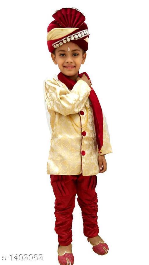 Sherwanis Kids Classic Sherwani  *Fabric* Cotton Blend  *Sleeves* Full Sleeves Are Included  *Size* Age Group (1 - 2 Years) - 18 in Age Group (2 - 3 Years) - 20 in Age Group (3 - 4 Years) - 22 in Age Group (4 - 5 Years) - 24 in  *Type* Stitched  *Description * It Has 1 Piece Of Kid's Boy's Sherwani, 1 Piece Of Boy's Churidar & 1 Piece Of Boy's Dupatta  *Work / Pattren* Sherwani - Embroidery, Churidar - Solid, Dupatta - Solid  *Sizes Available* 0-3 Months, 0-6 Months, 3-6 Months, 6-9 Months, 6-12 Months, 9-12 Months, 12-18 Months, 18-24 Months, 0-1 Years, 1-2 Years, 2-3 Years, 3-4 Years, 4-5 Years, 5-6 Years *   Catalog Rating: ★4 (12)  Catalog Name: Kids Classic Sherwanis Vol 3 CatalogID_181708 C58-SC1172 Code: 944-1403083-