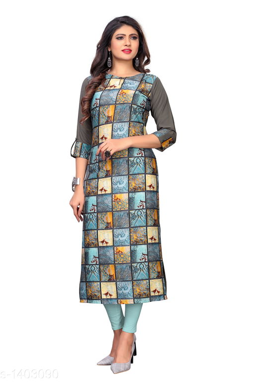 Kurtis & Kurtas Marine Style American Crepe Kurti  *Fabric* American Crepe  *Sleeves* 3/4 Sleeves Are Included  *Size* M - 38 in, - 40 in, X- 42 in, XXL - 44 in, XXXL - 46 in  *Length* Up To 48 in  *Type* Stitched  *Description* It Has 1 Piece Of Women's Kurti  *Work * Printed  *Sizes Available* M, L, XL, XXL, XXXL   Catalog Rating: ★3.6 (29) Supplier Rating: ★4 (2846) SKU: CREAP 404 Shipping charges: Rs1 (Non-refundable) Pkt. Weight Range: 300  Catalog Name: Jignya Marine Style American Crepe Kurtis Vol 1 - SANDEEP ETHNIC CENTER Code: 363-1403090--854
