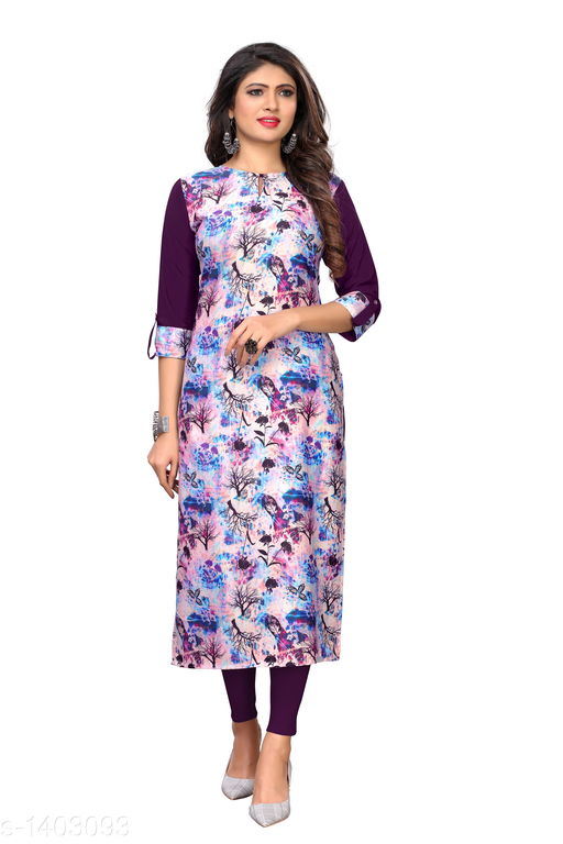 Kurtis & Kurtas Marine Style American Crepe Kurti  *Fabric* American Crepe  *Sleeves* 3/4 Sleeves Are Included  *Size* M - 38 in, - 40 in, X- 42 in, XXL - 44 in, XXXL - 46 in  *Length* Up To 48 in  *Type* Stitched  *Description* It Has 1 Piece Of Women's Kurti  *Work * Printed  *Sizes Available* M, L, XL, XXL, XXXL   Catalog Rating: ★3.6 (29) Supplier Rating: ★4 (2846) SKU: CREAP 405 Shipping charges: Rs1 (Non-refundable) Pkt. Weight Range: 300  Catalog Name: Jignya Marine Style American Crepe Kurtis Vol 1 - SANDEEP ETHNIC CENTER Code: 363-1403093--854