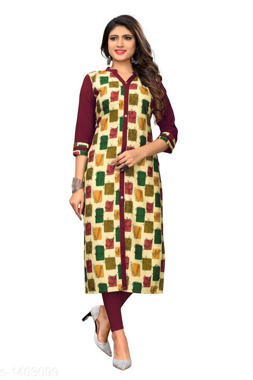 Kurtis & Kurtas Marine Style American Crepe Kurti  *Fabric* American Crepe  *Sleeves* 3/4 Sleeves Are Included  *Size* M - 38 in, - 40 in, X- 42 in, XXL - 44 in, XXXL - 46 in  *Length* Up To 48 in  *Type* Stitched  *Description* It Has 1 Piece Of Women's Kurti  *Work * Printed  *Sizes Available* M, L, XL, XXL, XXXL   Catalog Rating: ★3.6 (29) Supplier Rating: ★4 (2846) SKU: CREAP 409 Shipping charges: Rs1 (Non-refundable) Pkt. Weight Range: 300  Catalog Name: Jignya Marine Style American Crepe Kurtis Vol 1 - SANDEEP ETHNIC CENTER Code: 363-1403099--854