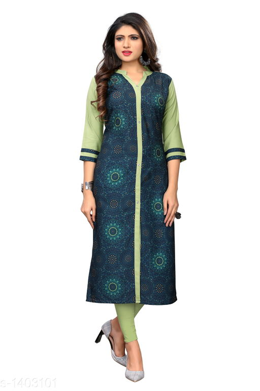 Kurtis & Kurtas Marine Style American Crepe Kurti  *Fabric* American Crepe  *Sleeves* 3/4 Sleeves Are Included  *Size* M - 38 in, - 40 in, X- 42 in, XXL - 44 in, XXXL - 46 in  *Length* Up To 48 in  *Type* Stitched  *Description* It Has 1 Piece Of Women's Kurti  *Work * Printed  *Sizes Available* M, L, XL, XXL, XXXL   Catalog Rating: ★3.6 (29) Supplier Rating: ★4 (2846) SKU: CREAP 411 Shipping charges: Rs1 (Non-refundable) Pkt. Weight Range: 300  Catalog Name: Jignya Marine Style American Crepe Kurtis Vol 1 - SANDEEP ETHNIC CENTER Code: 363-1403101--854