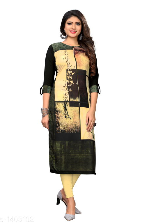 Kurtis & Kurtas Marine Style American Crepe Kurti  *Fabric* American Crepe  *Sleeves* 3/4 Sleeves Are Included  *Size* M - 38 in, - 40 in, X- 42 in, XXL - 44 in, XXXL - 46 in  *Length* Up To 48 in  *Type* Stitched  *Description* It Has 1 Piece Of Women's Kurti  *Work * Printed  *Sizes Available* M, L, XL, XXL, XXXL   Catalog Rating: ★3.6 (29) Supplier Rating: ★4 (2846) SKU: CREAP 412 Shipping charges: Rs1 (Non-refundable) Pkt. Weight Range: 300  Catalog Name: Jignya Marine Style American Crepe Kurtis Vol 1 - SANDEEP ETHNIC CENTER Code: 363-1403102--854
