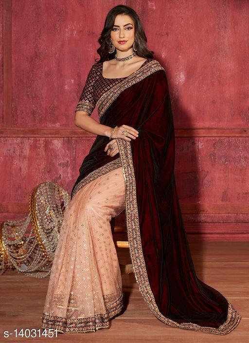 Cotton Duniya Velvet Women's Saree With Blouse