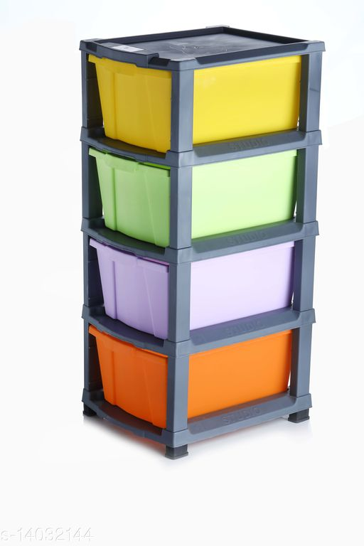 4xl Multi-Color( Grey) Plastic Modular Multi-Purpose Drawer Storage System for Home and Office