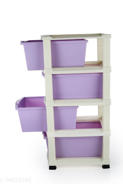 4xl Purple Plastic Modular Multi-Purpose Drawer Storage System for Home and Office