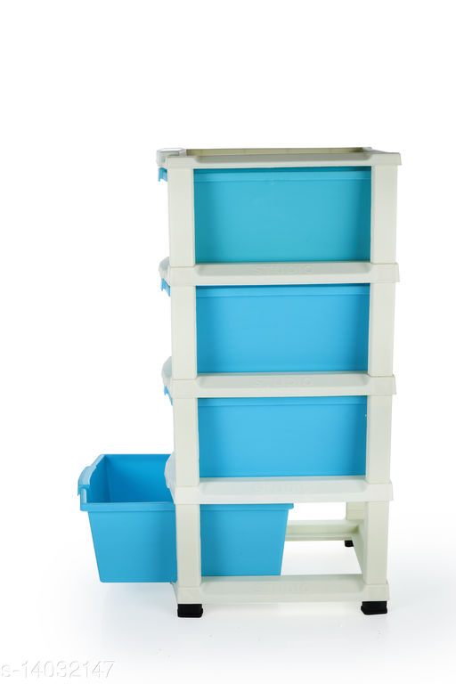 4xl Blue Plastic Modular Multi-Purpose Drawer Storage System for Home and Office
