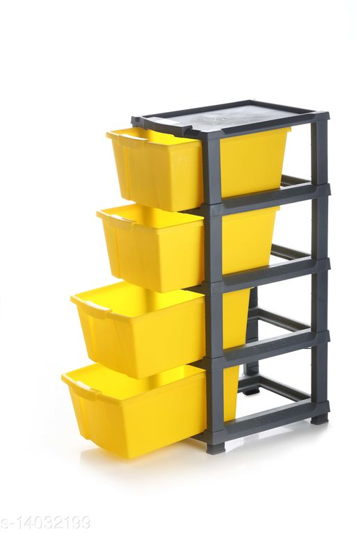 4xl Yellow Color (Grey) Plastic Modular Multi-Purpose Drawer Storage System for Home and Office