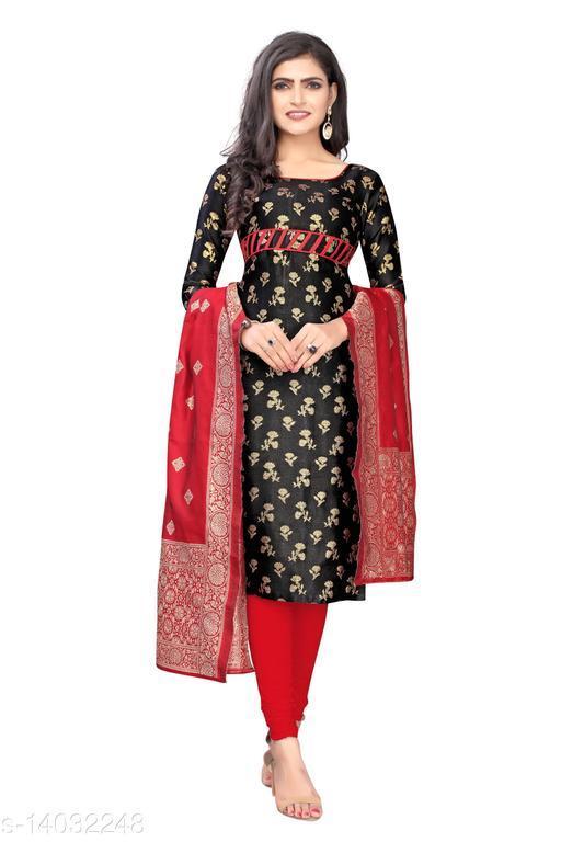 Pleasant Black Colored Party Wear  Cotton Silk Woven Un-Stitched  Salwar Suit