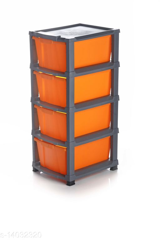 4xl Orange Color (Grey) Plastic Modular Multi-Purpose Drawer Storage System for Home and Office