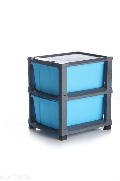 2xl Blue Color (Grey) Plastic Modular Multi-Purpose Drawer Storage System for Home and Office