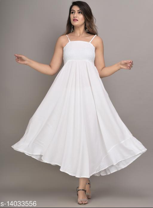 IQRAAR Women Rayon Anarkali Gown (White)