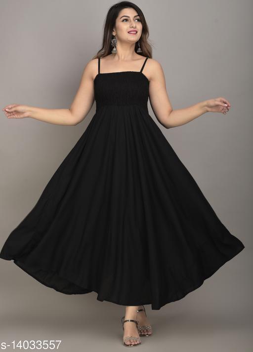 IQRAAR Women Rayon Anarkali Gown (Black)