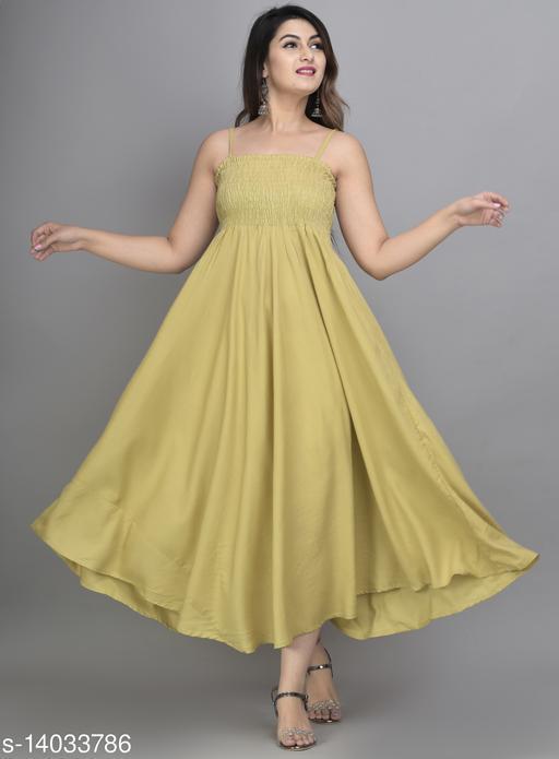 IQRAAR Women Rayon Anarkali Gown (Beige)