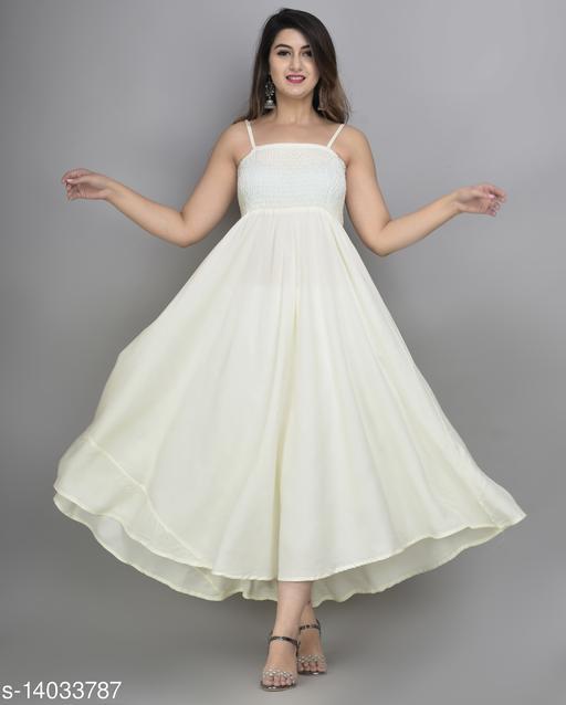 IQRAAR Women Rayon Anarkali Gown (Cream)
