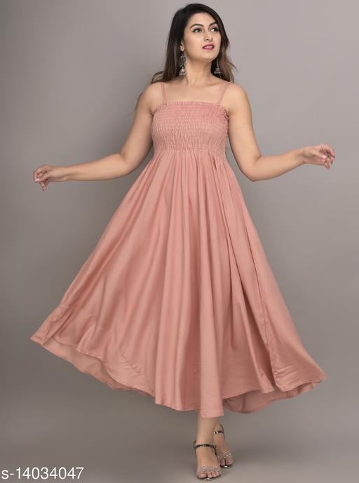 IQRAAR Women Rayon Anarkali Gown (Peach)