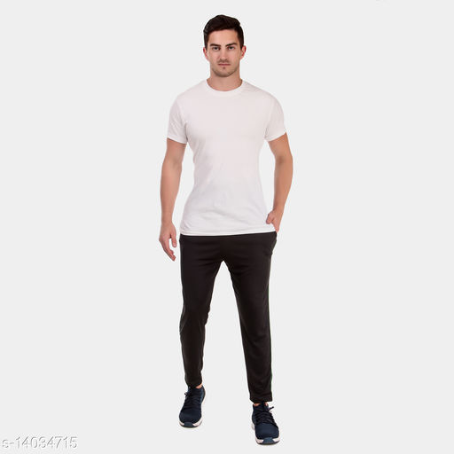 KETEX Black polyster dry-fit trackpants for men's