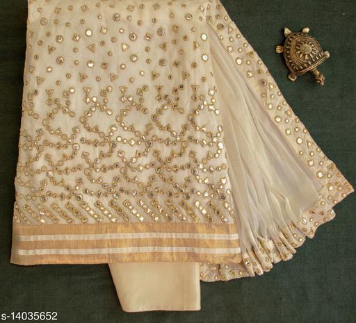 Tulip Prints Off White Chanderi Cotton Mirror Work Unstiched Dress Material