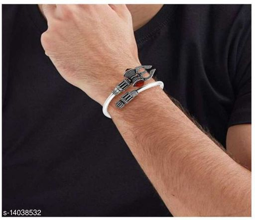 silver plated leather kada for men