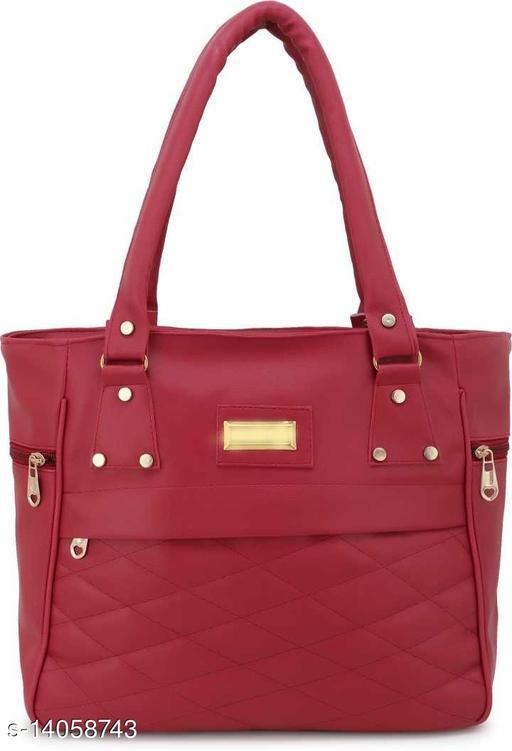 Trendy Women's Maroon Canvas & Leather Handbag