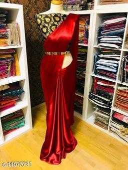 Self Design Fashion Satin Blend, Poly Silk Saree