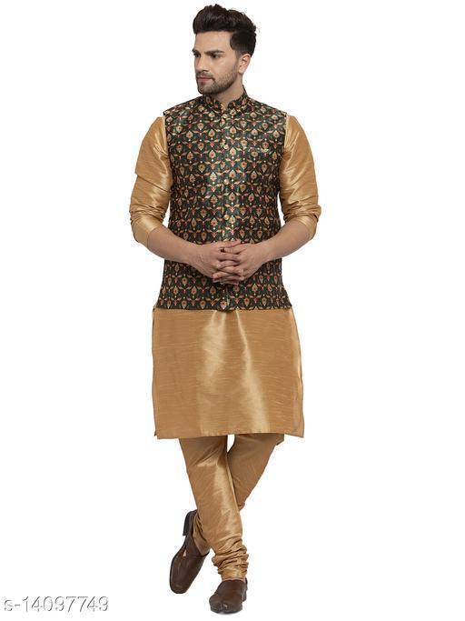 Kraft India Men's Silk Blend Gold Kurta Pyjama & Dark Green Printed Nehrujacket Combo