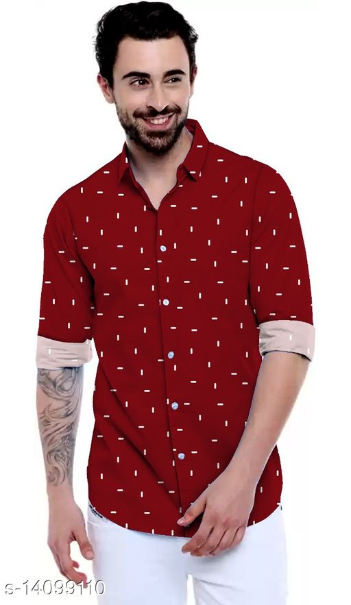 ONE PLUS PLUS Red Color Cotton Printed Party Wear Shirt