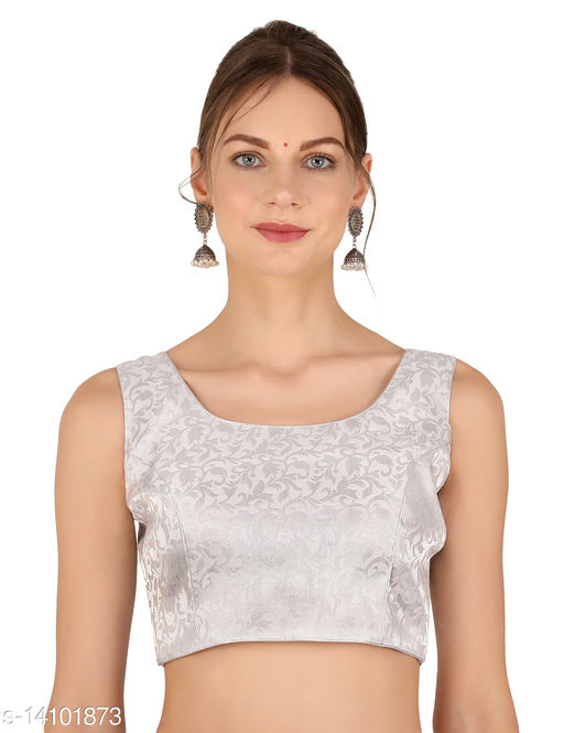 ND&R Womens readymade fully stitch designer sleeveless blouse Color Silver